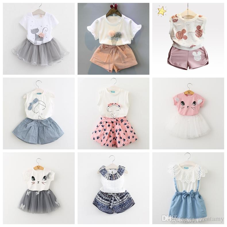 2-7 years kids baby girls T-shirt tops+shorts pants clothes outfits 2pcs/set girl's outfits children suit kids summer boutique clothes