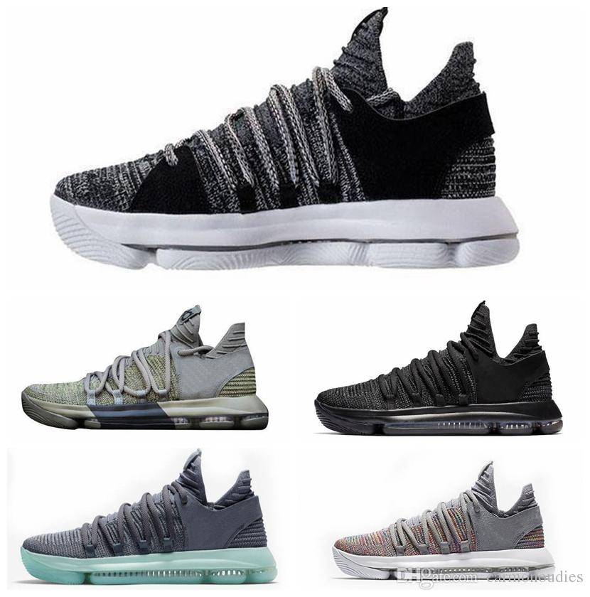 hot sale online 866f7 7bd27 2019 2019 Zoom KD 10 Anniversary PE BHM Red Oreo Triple Black Men  Basketball Shoes KD 10 Elite Low Kevin Durant Athletic Sport Sneakers From  Carmonoudies, ...
