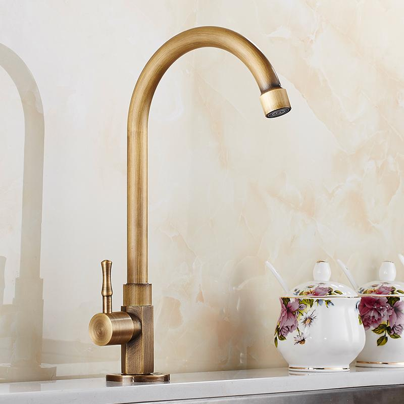 Fashion Europe style Antique Brass Brushed kitchen faucet cold water only  swivel kitchen taps,sink tap
