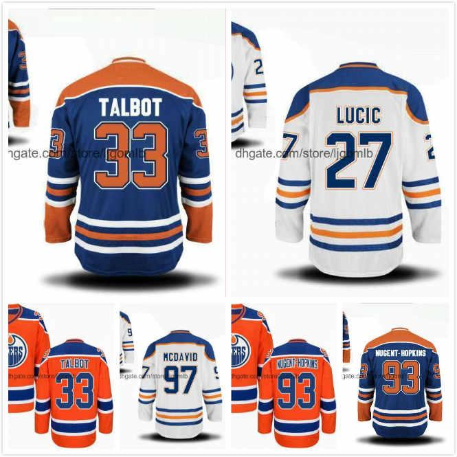 check out f97a9 f1d0b Cam Talbot Jersey 33 Milan Lucic 27 Connor McDavid 97 Ryan Nugent-Hopkins  93 Ice Hockey Jerseys Edmonton Oilers Full Stitched S-3XL