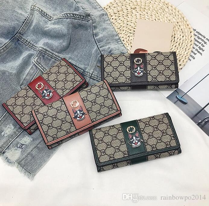 Factory wholesale brand women hand bag multi-card printed leather wallet fashion contrast color long coin purse personality two-piece leathe