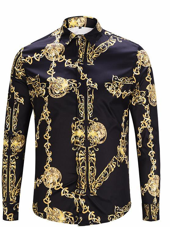 Fashion Designer Golden Chain Print Vintage Mens Shirts Designer Lapel Neck Long Sleeve Luxury Tops Men Casual Tees