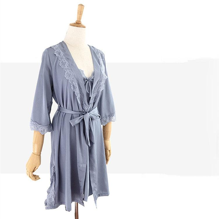 7e7cee1ba 2019 Women Sexy Lace Silk Robe   Gown Pajamas Sets Solid Bathrobe  Bridesmaid Wedding Sleepwear Australia 2019 From Biangye