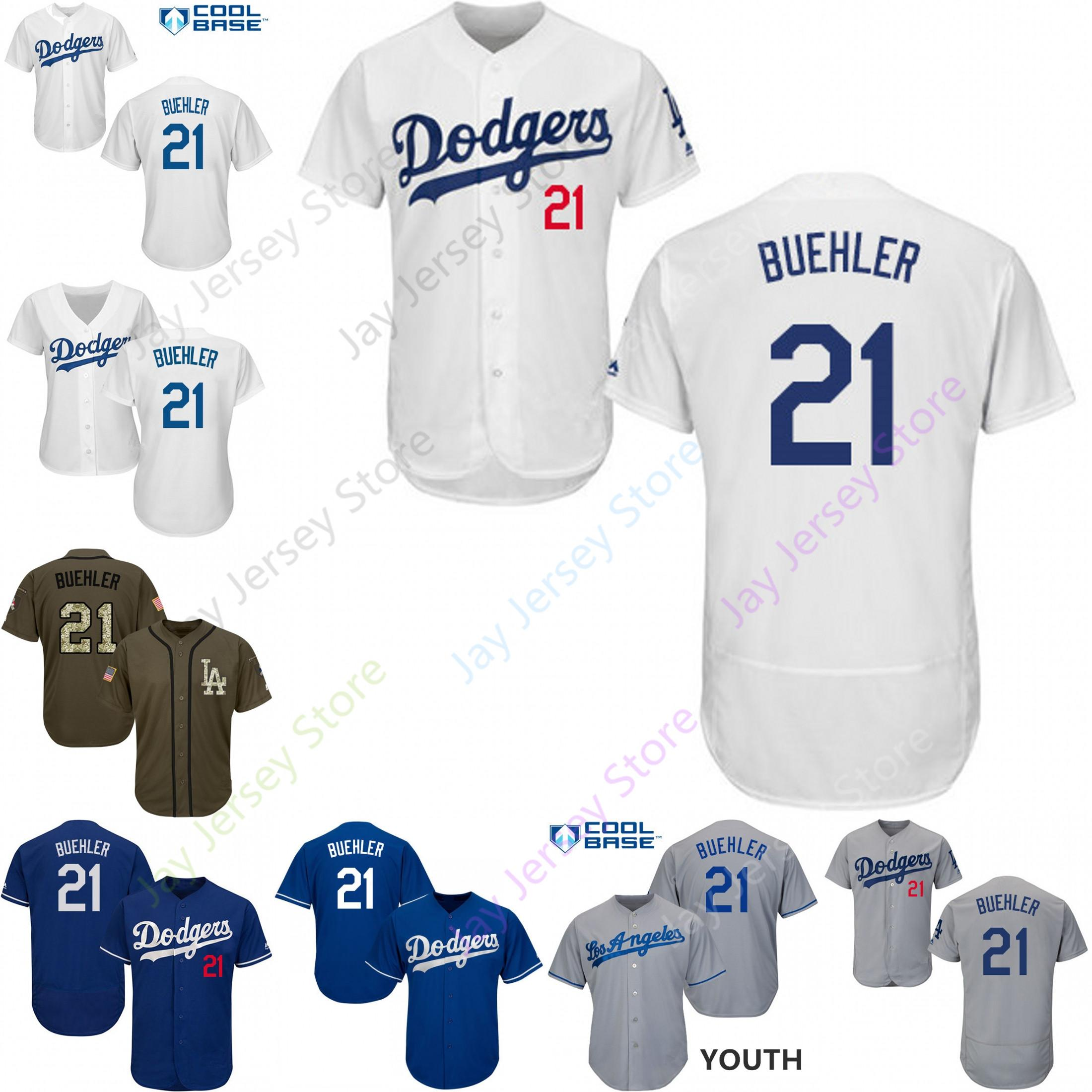 buy popular 70794 d6f77 Custom Los Angeles 21 Walker Buehler Jersey Dodgers Jerseys Cool Base  Flexbase White Black Red Grey Home Away Men Women Youth Cheap