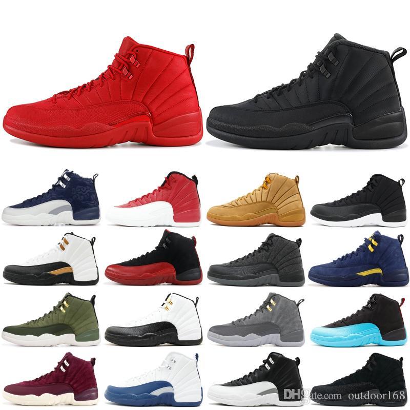 f7779f7a13d0f0 Acheter Designer 12 XII Hommes Chaussure De Basket Ball Collège Marine  Français Bleu Loup Gris Gris Noir Rouge Playoff CNY 12s Sports Sneakers  Hommes ...