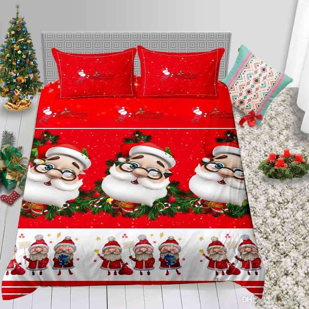 Santa Head Bedding Set Christmas Queen Festival Decoration Duvet Cover 3D King Single Double Full Twin Bed Cover with Pillowcase