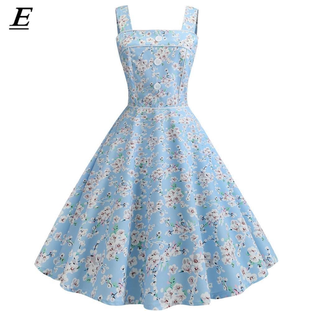 ea54eb7ddf553 Vintage Dress 2019 Casual Summer Floral Women Robe 1950S 60S Rockabilly  Swing Pinup Vestido Patchwork Elegant Party Dress
