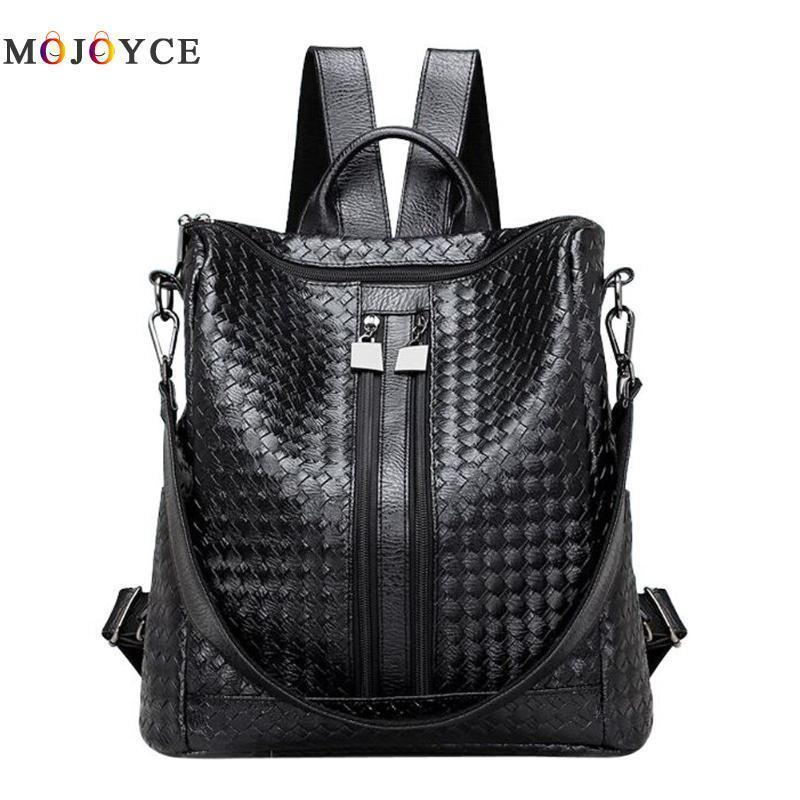 0dd8f2254670 2 Ways Wearing Soft PU Leather Weave Women Backpack Girls Students School  Backpacks Casual Travel Bag Black Mochila Feminina Y18110202 Best Laptop  Backpack ...