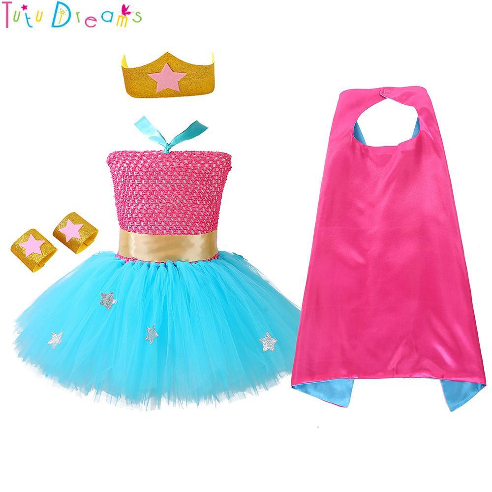 52931fd4ce 2019 Superhero Girl Tutu Dress Sky Blue Knee Length Wonder Girls ...