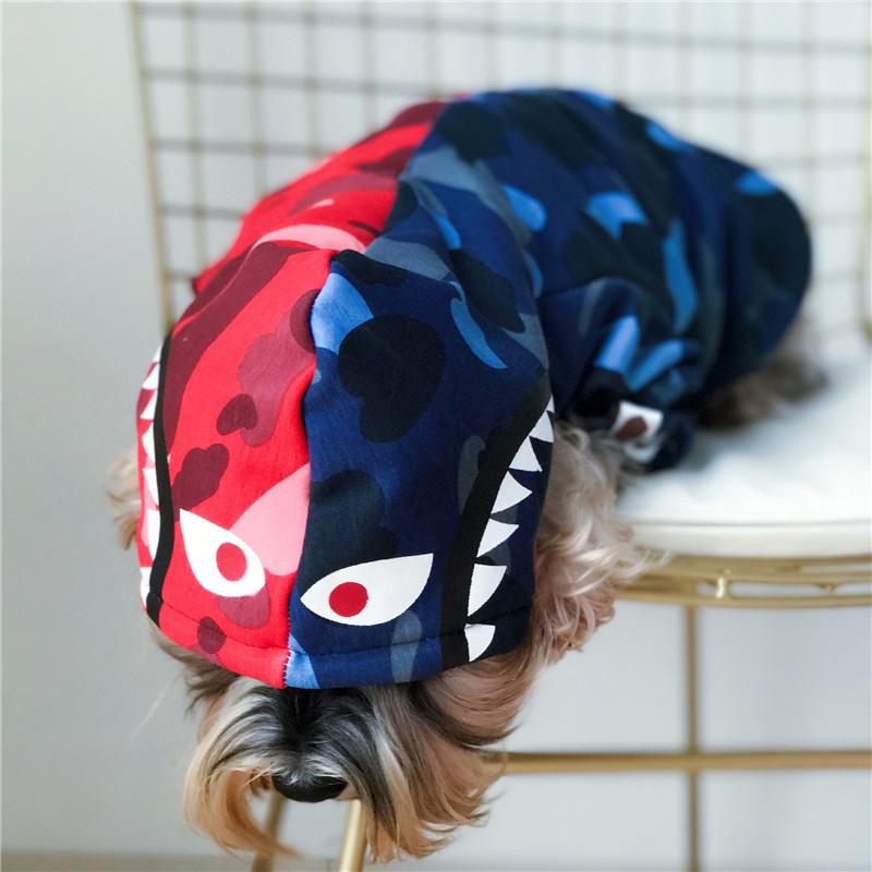 Shark Red Blue Joint Pet Hoodies Popular Logo Dog Cat Clothes Teddy Camouflage Puppy Autumn Winter Style Brushed Hoodies
