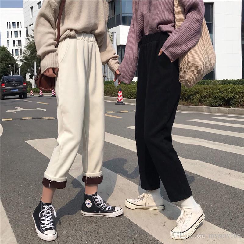 d266ac96063f Женские студенческие красные и бархатные джинсы осень и зима 2018 новая  корейская ...