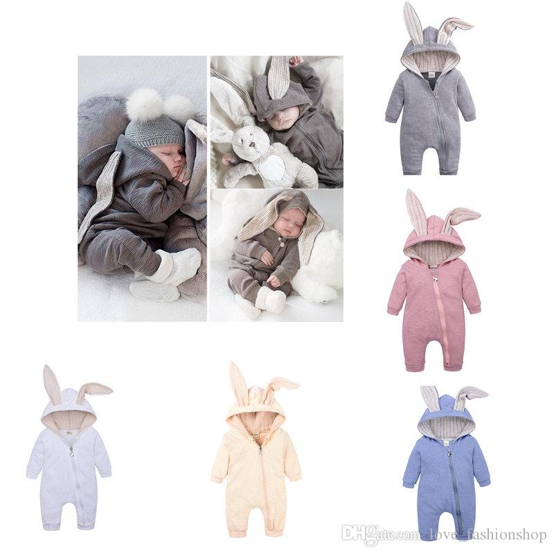Retail Ins Baby big ears rabbit romper One-piece Rompers Infant Toddle Onesies Jumpsuits Kids triangular climbing clothes Children Clothing