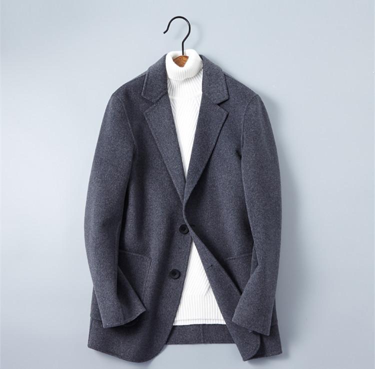 New Double-faced Wool Men's Cashmere Jacket Smart Casual Wool Coats 2018 Men Short Woolen Jackets Top Designed Plus Size M-3XL