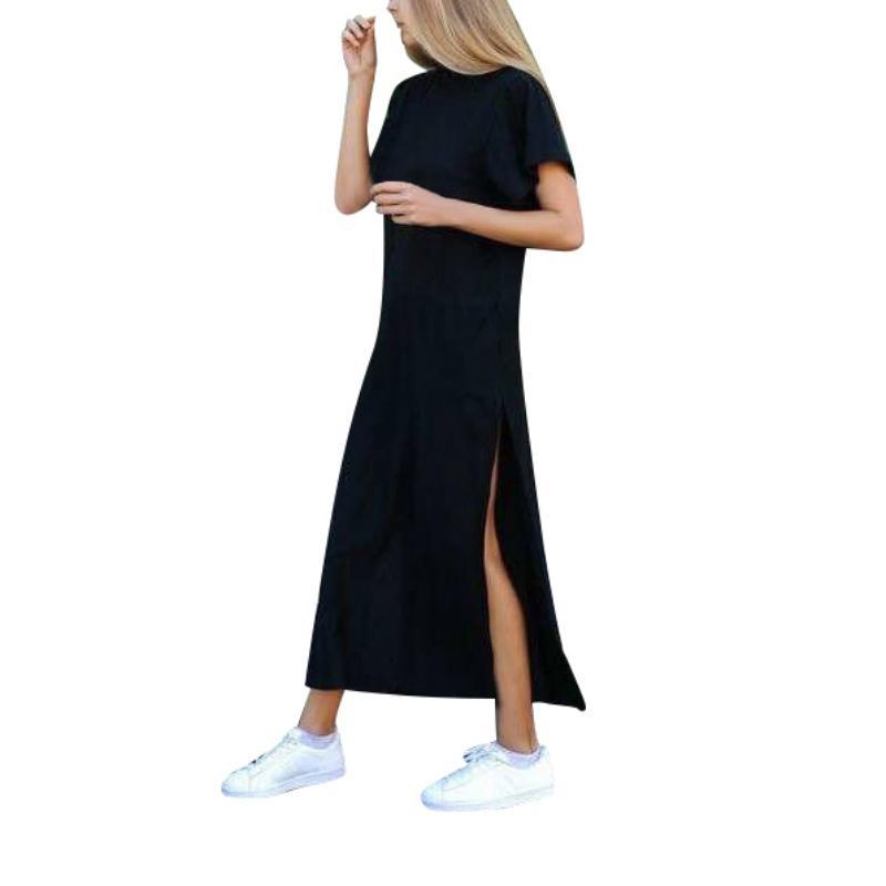 a26c640f82 Compre Lado Verão Casual Alta Fenda Longa Camiseta Vestido Mulheres Sexy Vestido  Mangas Curtas Preto De Hoto