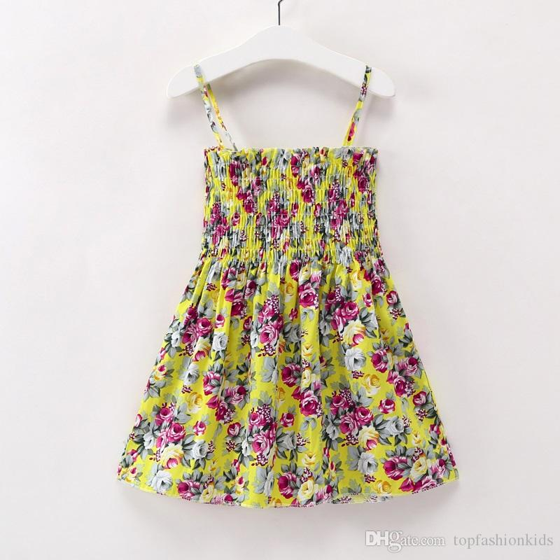 0d1df1484befa Casual Flowers Dress for Girls Summer Clothes Knee-Length Cotton Girl Dress  Cute Baby Girl Clothes Outwear