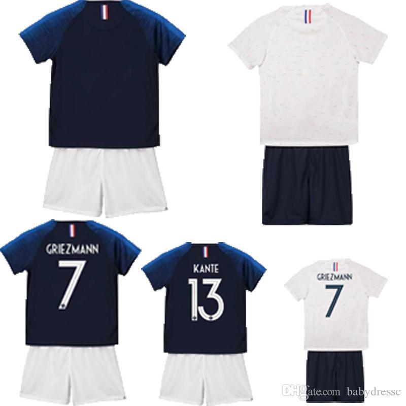 Compre 2 Estrellas Francia Jersey Kids Soccer Jersey Palabra Copa Poliéster  Nombre Personalizado Número 7 MBAPPE 10 POGBA Camisetas De Fútbol Maillot  De ... b6a00cee1d620