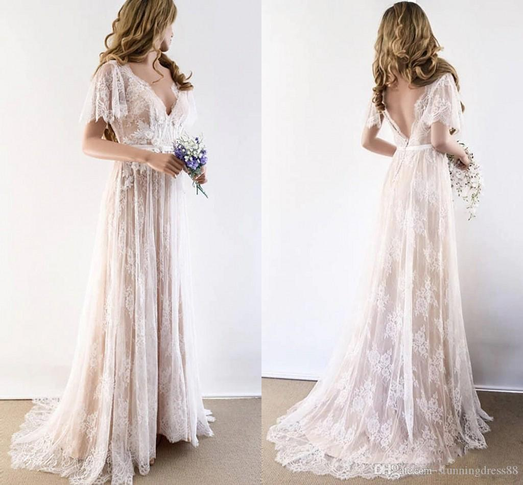 2019 Champagne Country Bohemian Wedding Dresses V Neck