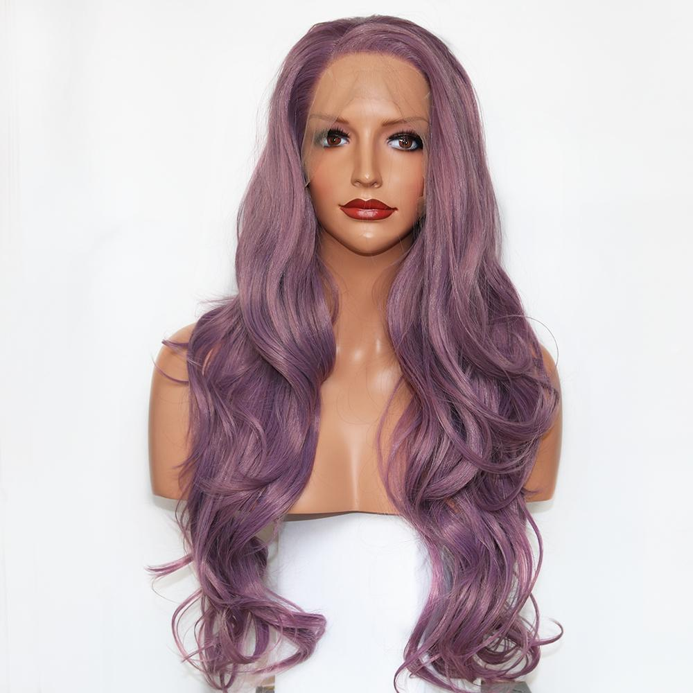 2019 Top Quality Synthetic Lace Front Wigs Long Wavy Purple Cosplay Wigs  For Women High Temperature Fiber Hair Glueless Wigs With Baby Hair Long  Black Wigs ... 8c6ed3e2b