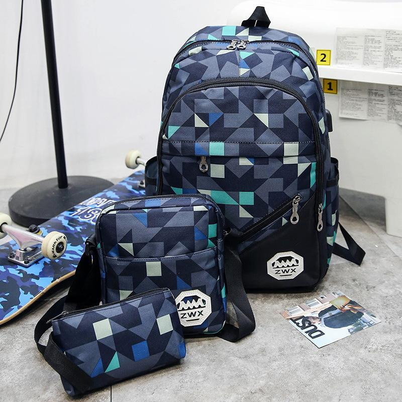 Exotic2019 Middle Backpack Both Shoulders Package Wind High Living Junior School Student Pupil A Bag Male Trend