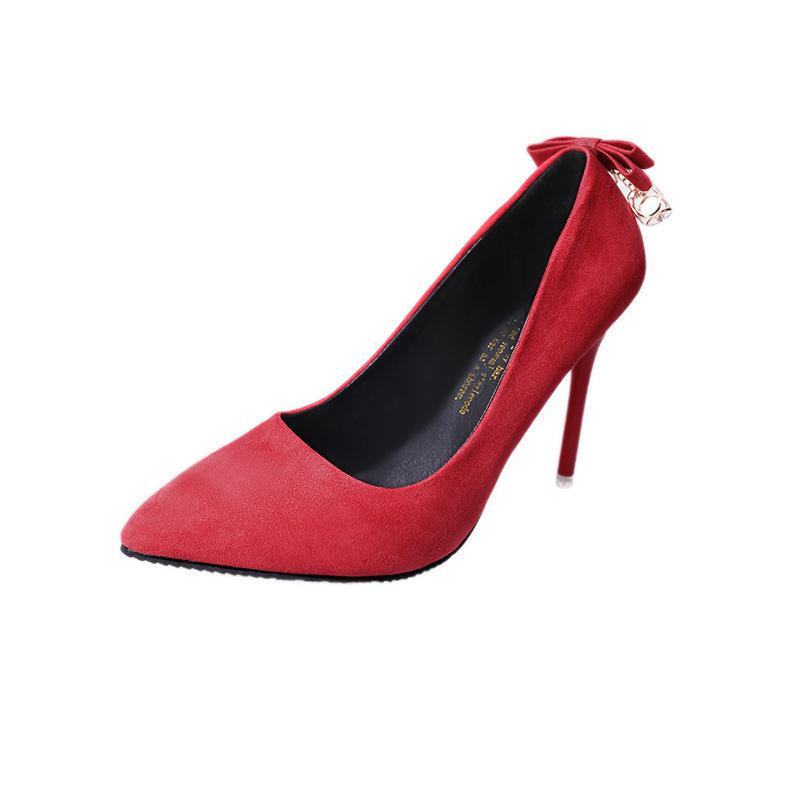 e832ebf7e9a Dress Summer New Bowknot High Heels Ladies Party Wedding Shoes Sexy Pointed  Toe Thin Heels Women Pumps Red Black Pink Plus Size 34-40