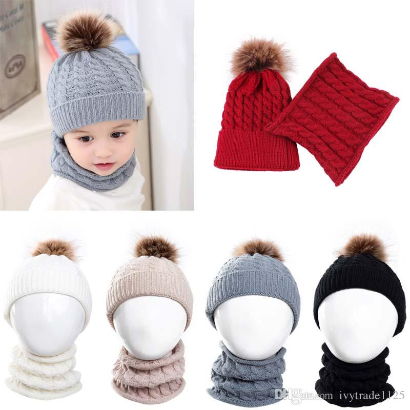 5 Colors Baby Kids Winter Warm Hat Scarf Solid Color Beanie Crochet Kids Cute Hat New born Hat Cap Baby, Kids & Maternity 0-3T