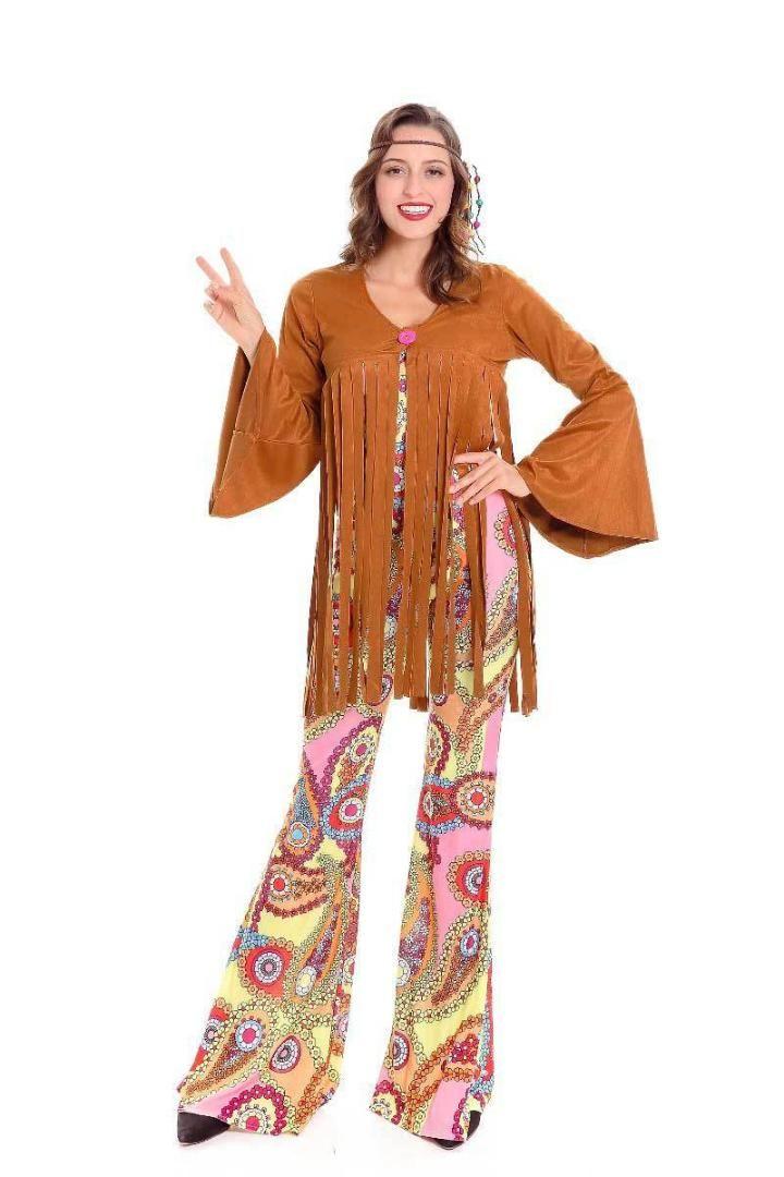 430bbd587 Retro de los años 70 mujeres Hippie Disco disfraces fiesta de carnaval de  Halloween vestido de lujo