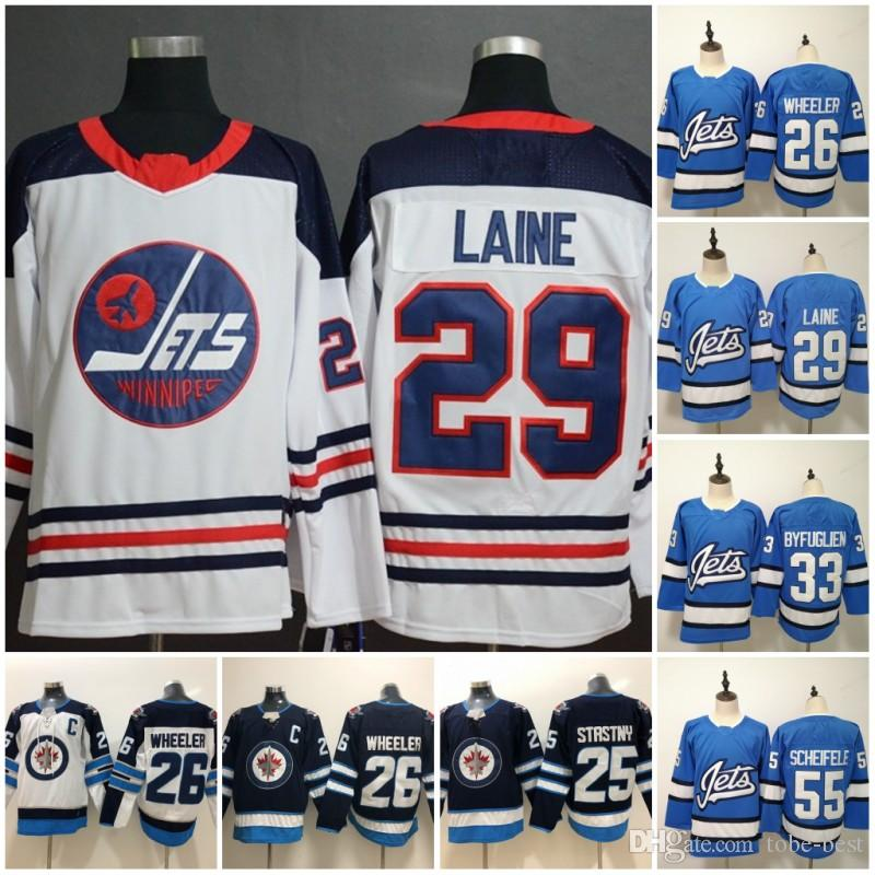 new arrival 62e98 7af0c 2019 Cheap Winnipeg Jets Hockey Jersey 55 Mark Scheifele 29 Patrik Laine 26  Blake Wheeler 33 Dustin Byfuglien Blue White Jersey