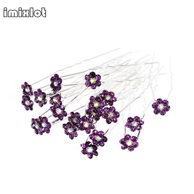edding bridal 40Pcs/ Lot Women Wedding Bridal Clear Crystal Rhinestone Rose Flower Hair Pin Clips Hair Accessories Jewelry Barrettes Head...