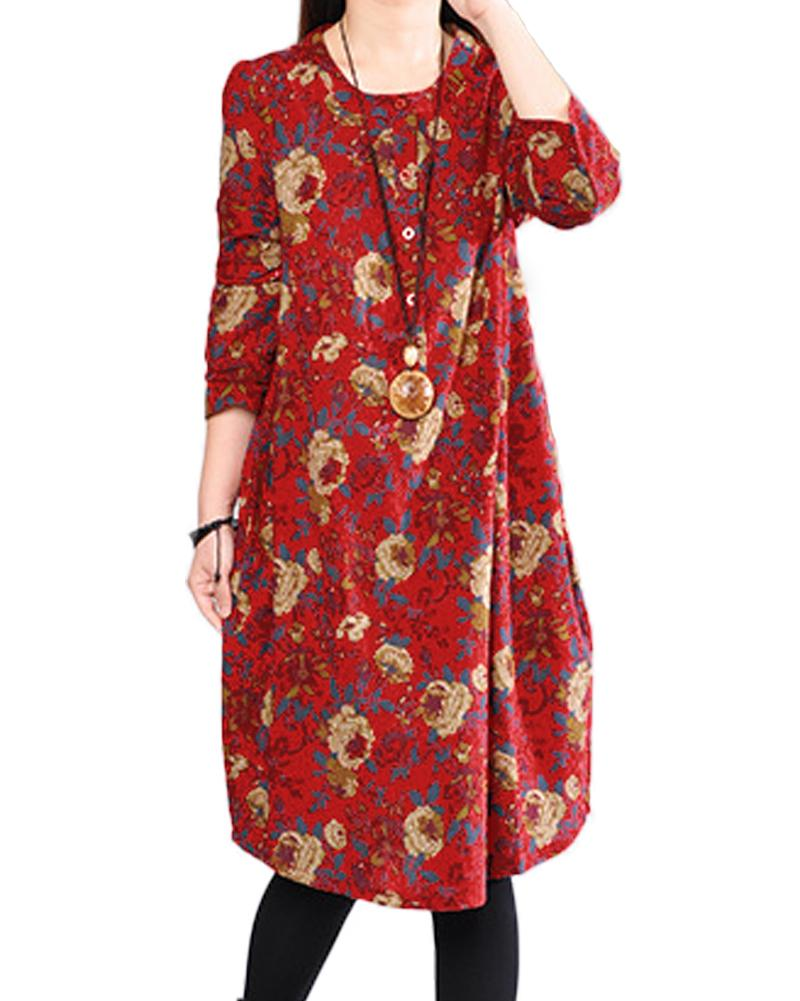 41a57329b7e 2019 New Fashion Vintage Women Floral Cotton Linen Dress Long Sleeves  Pockets Buttons O Neck Robe Casual Dress Red Dark Green Dress Summer Dresses  Styles ...