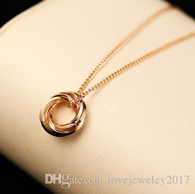 edc259bc1 Wholesale Luxury Style Women Three Layer Circle Pendant Necklaces Korean  Love Designer Necklaces Rose Gold Plated Clavicle Chain Fashion Jewelry  Locket ...