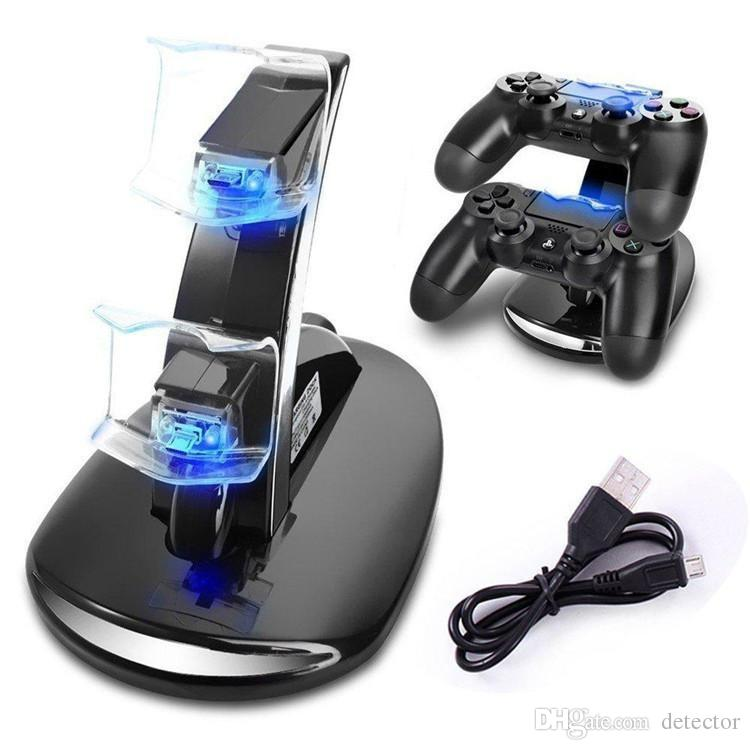 LED Dual Charger Dock Mount USB Charging Stand For PlayStation 4 PS4 Xbox One Gaming Wireless Controller With Retail Box ePacket Free Ship