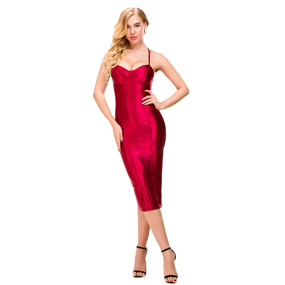 Sexy Spaghetti Straps Bodycon Red Party Dress Open Back Satin Gold Black Tight Package Hips Sleeveless Split Midi Dress Q190424