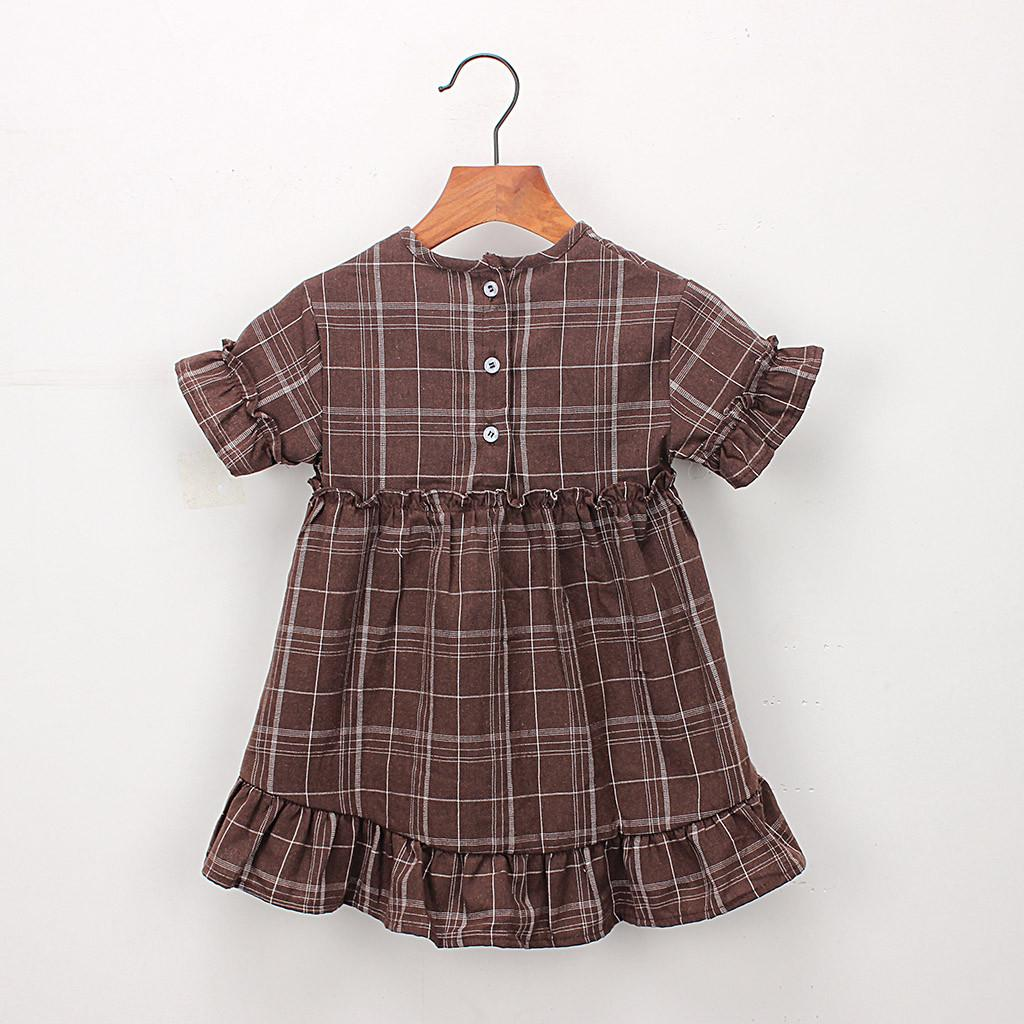 TELOTUNY Fashion Toddler Kids Baby Girls Clothes Short Sleeve Plaid Party Pageant Princess Dress 2019 newst baby dress Z0208