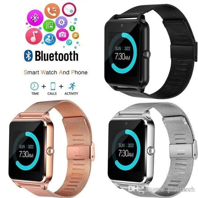 wholesale Z60 Bluetooth Smart Watch Wireless Watches Stainless Steel For Android IOS Support SIM TF Card Fitness Tracker with Retail Box