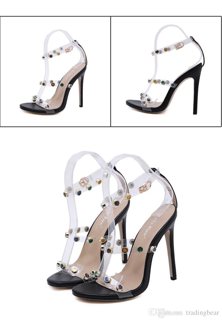 Luxury colorful stone ankle strappy high heel sandals women designer shoes size 35 to 40