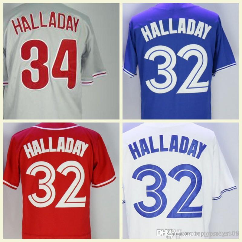 Mens Roy Halladay Jersey White Red Black Blue Stitched Toronto  32  Philadelphia  34 Baseball Jerseys Halladay Philadelphia Stitched Online  with  29.21 Piece ... 760c288f3df