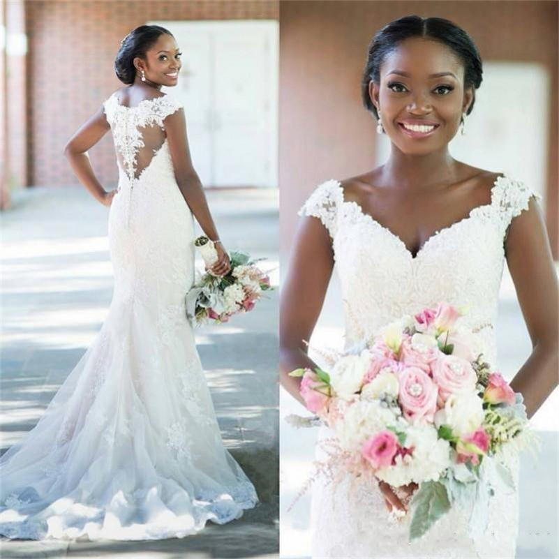 African Mermaid Wedding Dresses Off Shoulder Cap Sleeves Lace Applique Button Back Beads Sweep Train Custom Plus Size Saudi Bridal Gowns