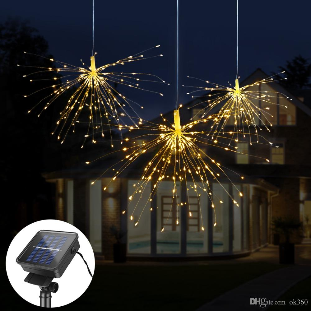 DIY Fireworks Solar String lights Outdoor Solar lamp Christmas Explosion  Star Fairy string light for Wedding Party Garland New Year Lighting