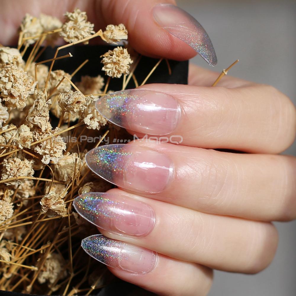 4f0fc731d3f2 Laser Transparent Holographic Gradient Fake Nail Stiletto Nails Black  Medium False Nails Point Tip Pink Girl Decoration Fake Nails Design False  Toe Nails ...