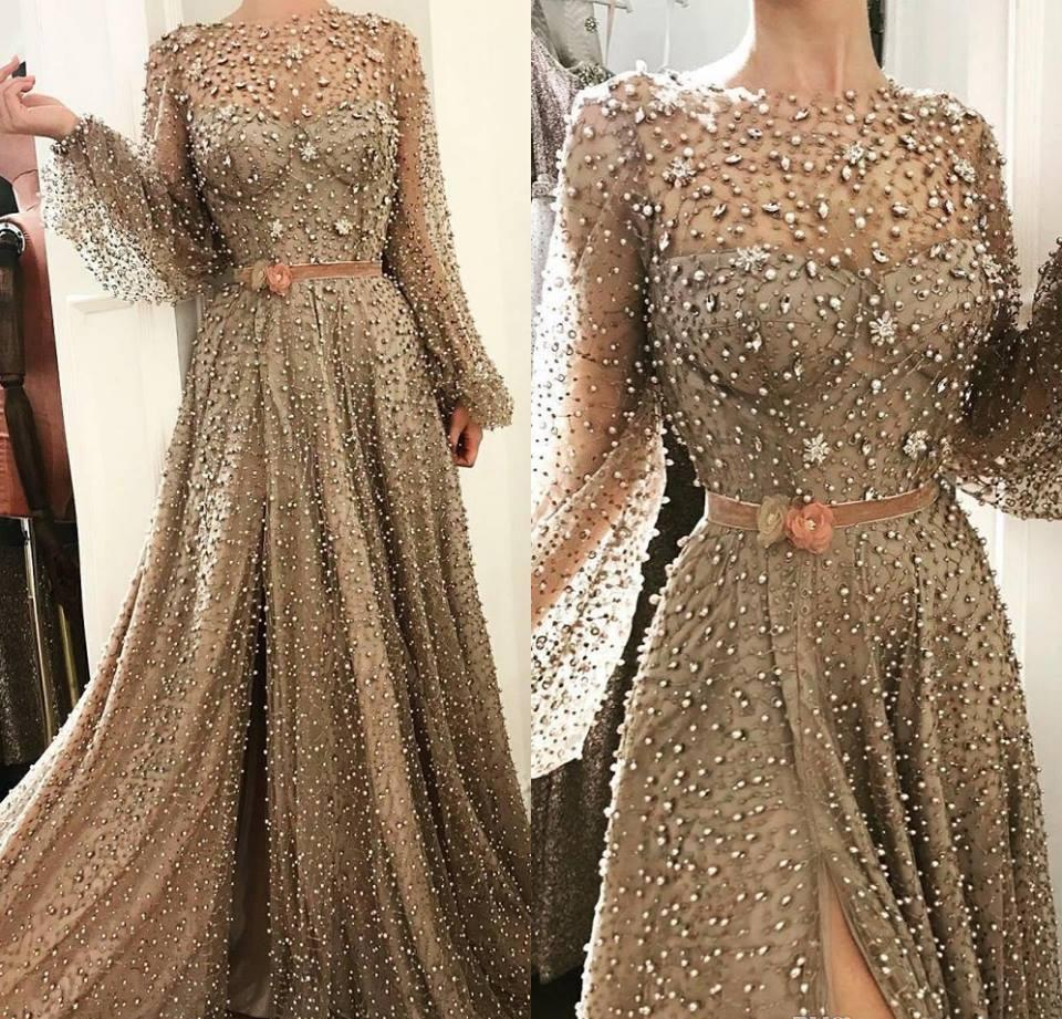 2019 Saudi Arabic Evening Dress Sheer Neck Beaded Long Poet Sleeves Holiday Women Wear Formal Party Prom Gown Custom Made Plus Size