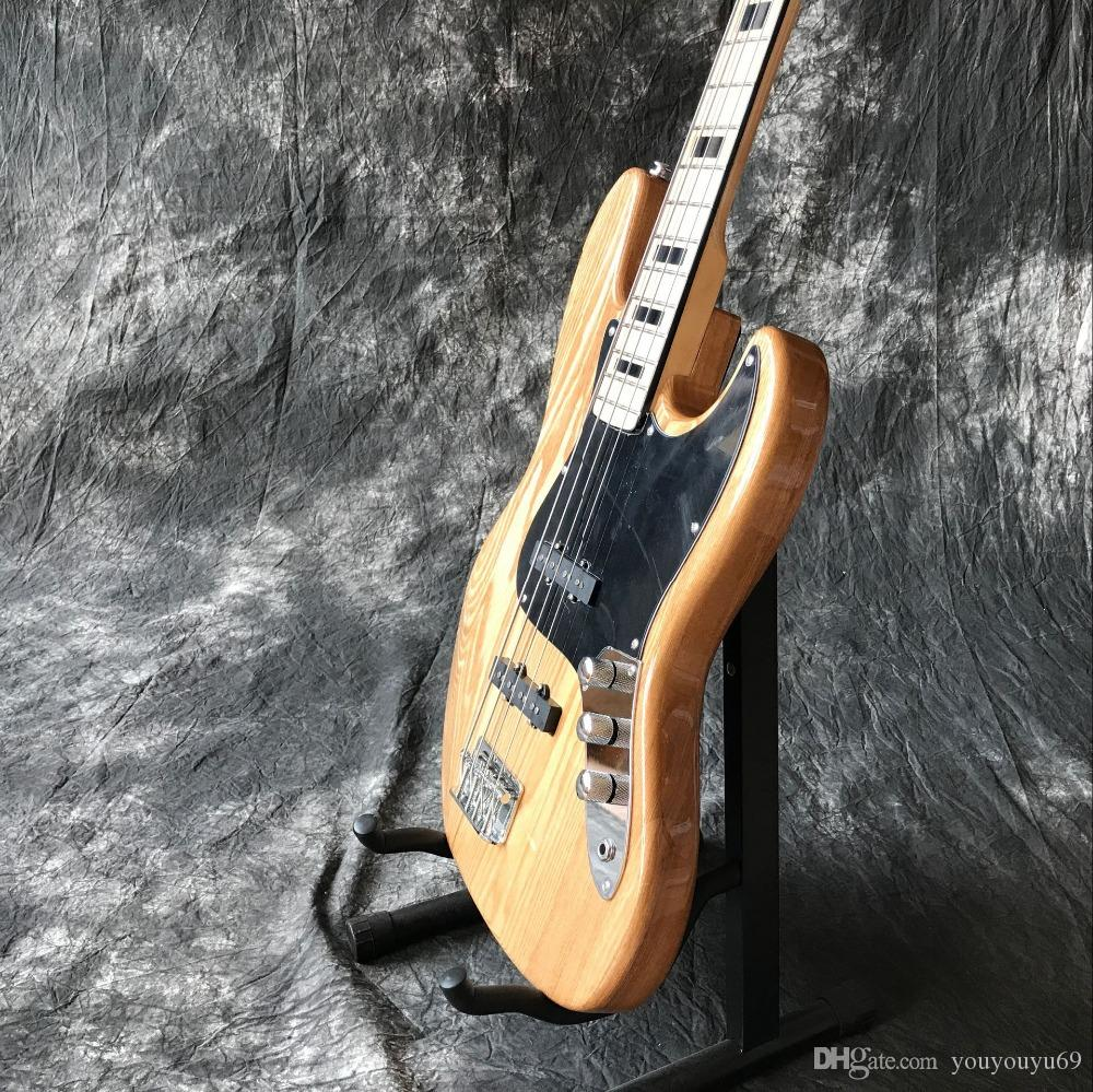 Custom factory new high quality 4 string manual jazz bass electric guitar, custom bass guitar, natural wood guitar, custom