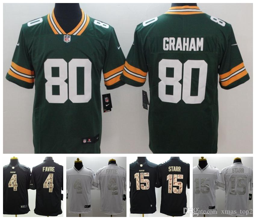 purchase cheap cf56b 00d9a 2019 Mens 4 Brett Favre Green Bay Packers Football Jersey 100% Stitched  Embroidery 15 Bart Starr 80 Jimmy Graham Color Rush Football Shirt