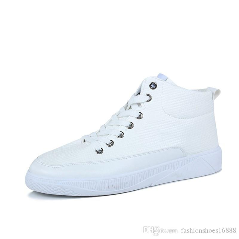 Mens White High Top Sneakers Casual Leather Shoes Men 2019 New