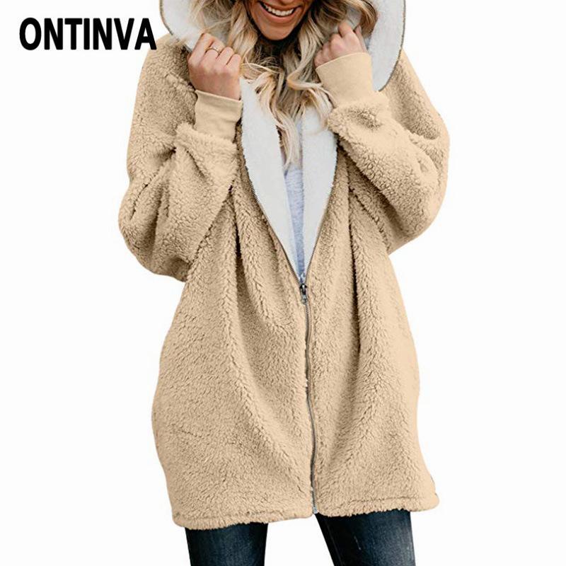 7da979595e168 2019 Shaggy Pink Teddy Coats Plus Size Women Fleece Faux Fur Coat Winter  Lambswool Warm Hooded Zipper Long Sleeve Jackets Femme Coats From  Baxianhua