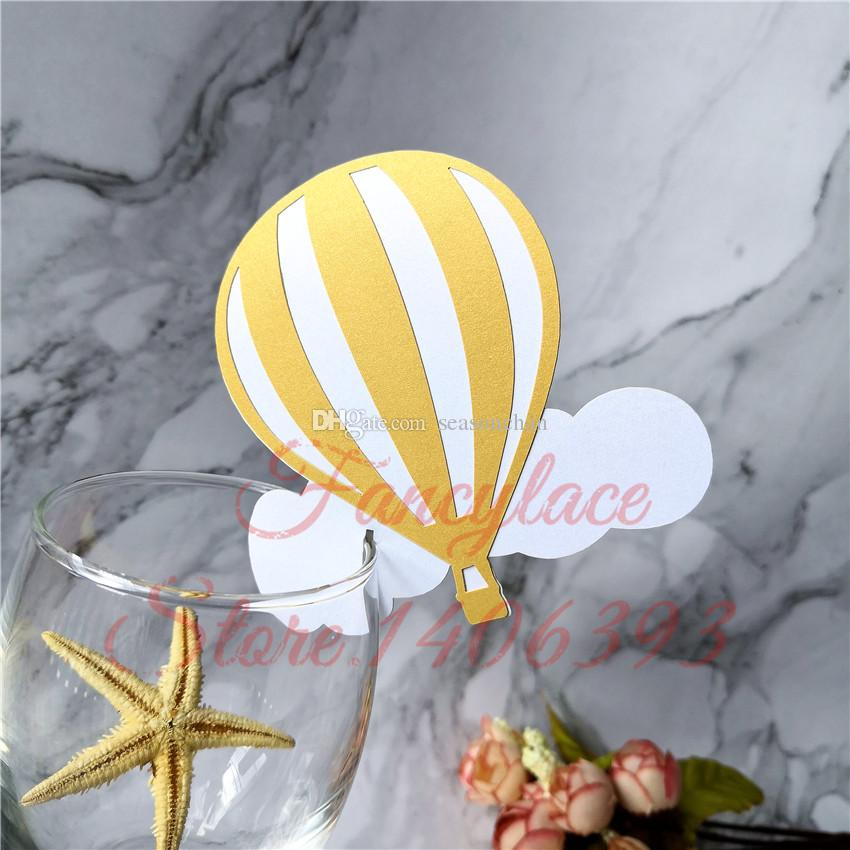 50pcs Cloud Balloon Design Wine Glass Cup Paper Place Cards Birthday Party Decoration Kids Wedding Party Name Cards Party Favors