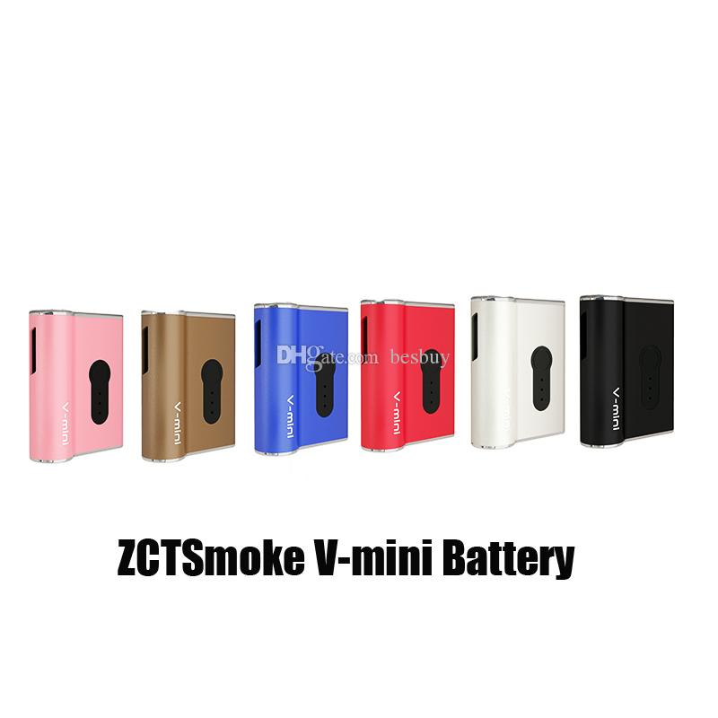 100% original ZTCSmoke V-mini Box Mod 450mAh Precalentamiento Batería Voltaje variable Mods Vape para 510 Thread Thick Oil Carts Cartucho genuino