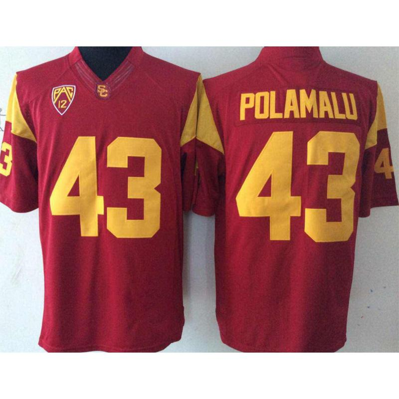 best website c873b 34fc2 Mens USC Trojans Troy Polamalu Stitched Name&Number American College  Football Jersey Size S-3XL
