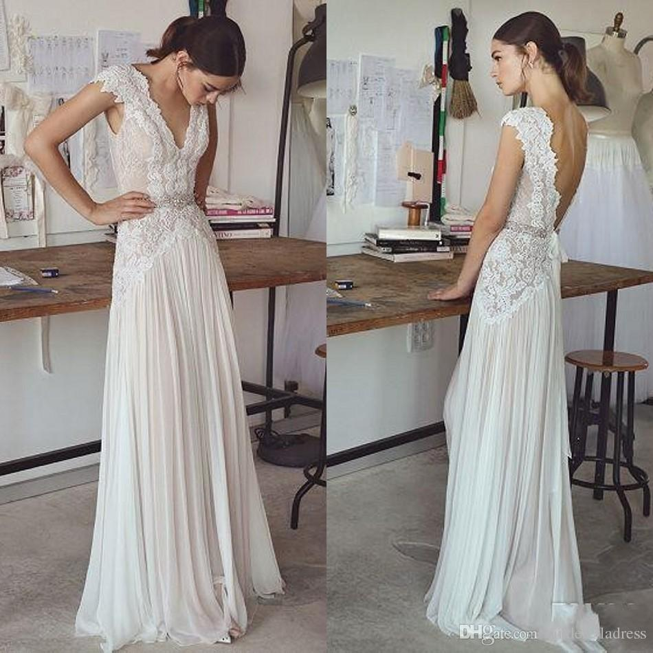 Cheap Boho Beach Wedding Dresses 2019 Sexy with Cap Sleeves V Neck Backless Pleated Skirt Elegant Sheath Bohemian Bridal Gowns BA6464