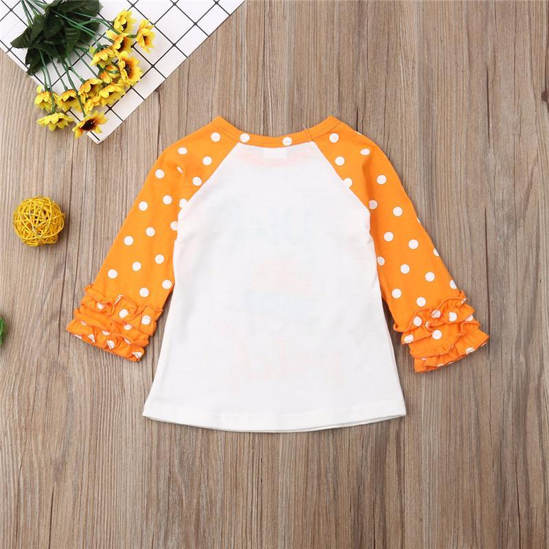 Infant 1-5T Halloween della neonata del bambino vestiti a maniche lunghe di zucca Stampa Ruffle moda T-shirt Top partito Club Outfits