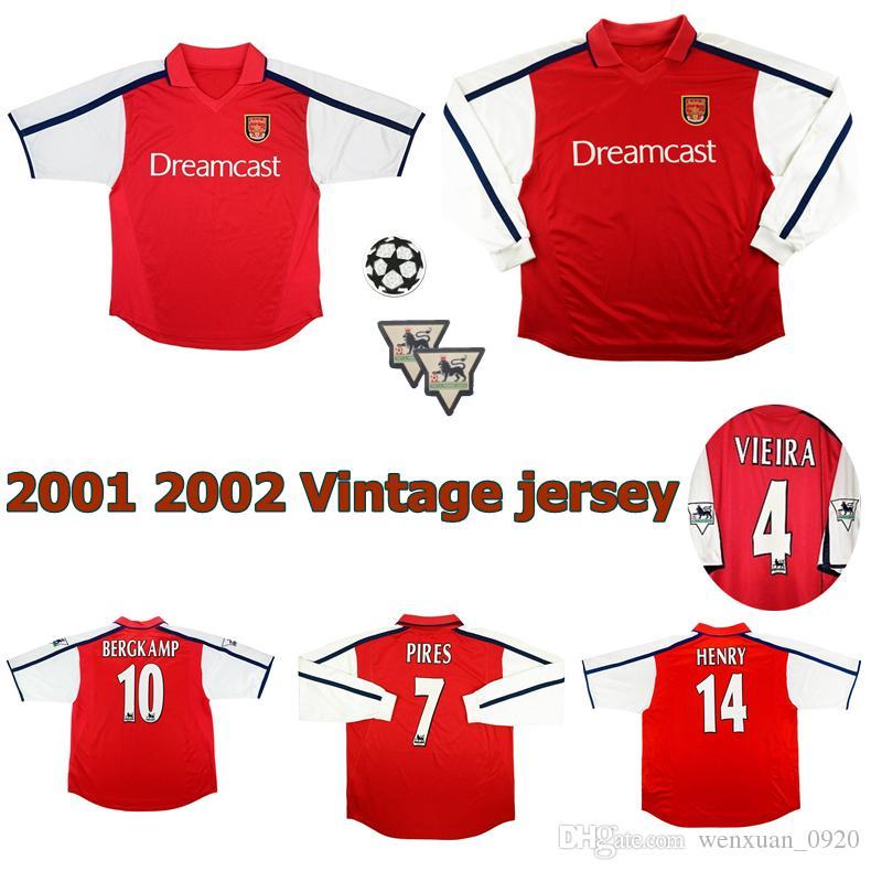 08aa7383a Acquista 2000 2001 Arsenal Retro Jersey 00 01 Home HENRY VIEIRA BERGKAMP  PIRES KEOWN LJUNGBERG Magliette Classiche Da Calcio Vintage A  15.79 Dal ...